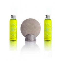 Scrub stone + 2 flesjes zeep